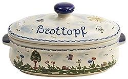 vivApollo Brottopf Brotkasten Brotkorb Original westerwälder Kannenbäckerland salzglasierte Steinzeug Keramik (klein Idas Garten)