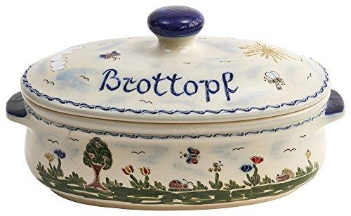 vivApollo Brottopf Brotkasten Brotkorb Original westerwälder Kannenbäckerland salzglasierte Steinzeug Keramik (groß Idas Garten)