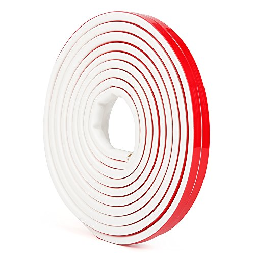 Silicone Rubber Weather Stripping for Doors and Windows, Multi-Hole D Shaped Flexible Ageing-Resistant Soundproof Acrylic Self Adhesive Sealing Strip Tape, 3/8 inch x 1/4 inch x 19.6 Feet (White)