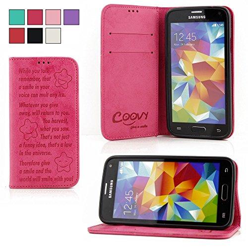 COOVY® Cover für Samsung Galaxy S5 SM-G900F SM-G901F Neo SM-G903F Case Wallet Schutz Etui mit Kartenfach, Standfunktion + Schutzfolie - Design Smile | Farbe hotpink