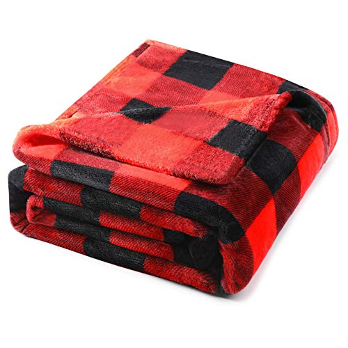 Hilarocky Buffalo Plaid Throw Blanket for Couch Fleece Flannel Red Black Checker Plaid Pattern Lightweight Breathable Microfiber Ultra Cozy Warm 60x80 Inches Bed Decorative Blanket