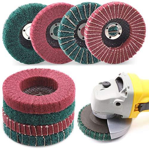 Keadic 8PCS 4 Inch Red & Green Nylon Fiber Flap Discs Set, 120 180 240 320 Grit Assorted Sanding Grinding Buffing Wheels for Angle Grinder, Polishing Tools