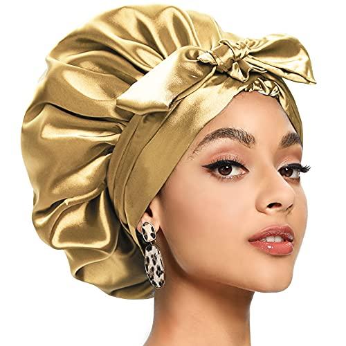 Satin Bonnet for Women, Silk Bonnet for Curly Hair, Satin Head Wraps for Black Women Hair Bonnet for Sleeping
