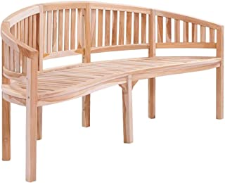 Festnight Outdoor Garden Bench Banana Shape Patio Porch Chair Seat with Backrest and Armrest Teak Wood Solid Construction Courtyard Decoration Park Outdoor Furniture 78.7