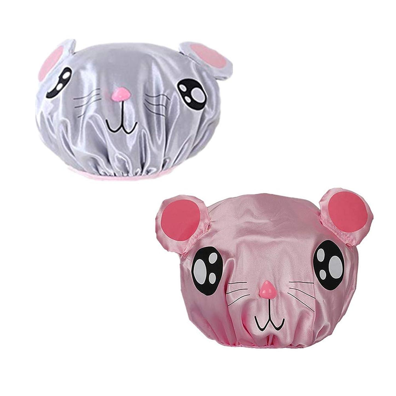 変形するメタン無傷Kingsie シャワーキャップ キッズ 子供用 2枚セット ヘアキャップ 可愛い 動物柄 カートゥーン 防水帽 入浴キャップ お風呂 ピンク/グレー