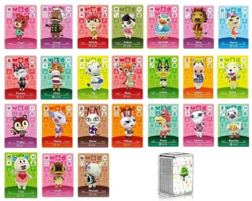 Lote de 24 tarjetas NFC de 25 a 48 para Amiibo Animal Crossing New Horizon compatible con Nintendo Switch Lite Wii U New 3DS Rare de aldeanos Serie 1 a 4 con funda de almacenamiento