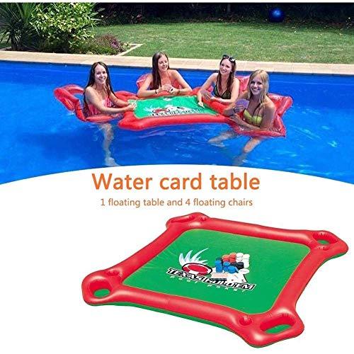 Ezeruier Cama flotante inflable, sillones de cuatro posiciones, mesas y sillas de recreo acuático, mesas de póquer inflables, aptas para piscinas y fiestas.