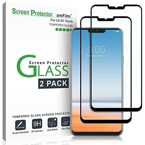 amFilm Vetro Temperato Pellicola Protettiva per LG G7 (2 Pezzi), Copertura Totale Protezione Schermo per LG G7 ThinQ (Nero)
