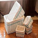 BGROEST-hm Cestas cestas de organización 5 Piezas de cestas de Mimbre Hechas a Mano, contenedores Decorativos for el hogar Cestas Decorativas Cestas de organización for Sala de Estar, baño