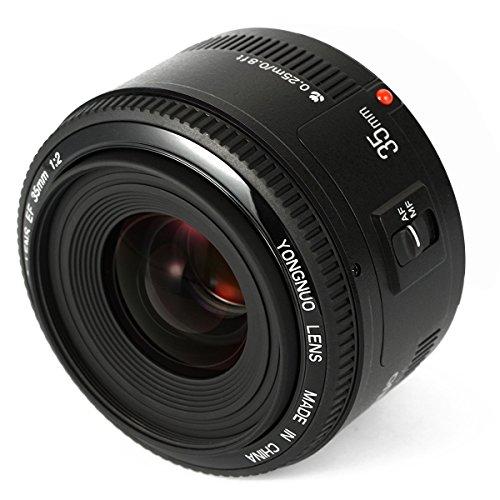 Yongnuo YN35mm F2 Objektiv 1: 2 AF/MF-Weitwinkel-Fest/Prime Autofokus-Objektiv für Canon EF Befestigung EOS Kamera mit WINGONEER Diffusor