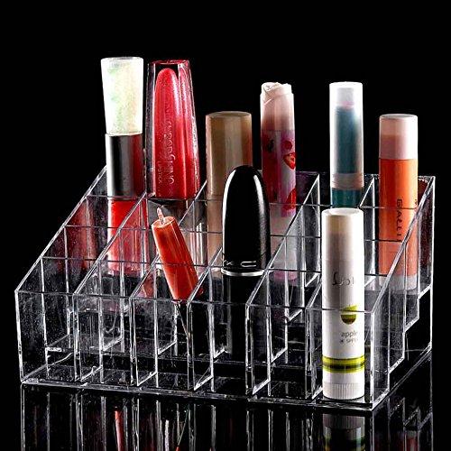 TRIXES Organizador Maquillaje claro 24 maquillaje lápiz labial cosméticos almacenamiento pantalla soporte soporte metálico organizador