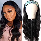 Julia 10A Headband Wigs Human Hair Wig for Black Women Body Wave Wavy Wigs with Free Headbands,10A Brazilian Virgin Human Hair Non Lace Front Wig Protective Style Natural Look 150% Density 16inch