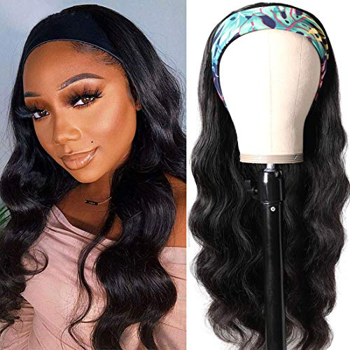 Julia Headband Human Hair Wigs Body Wave for Women Glueless Wavy Wigs with Free Headbands,10A Brazilian Virgin Hair Non Lace Front Wig 150% Density 18inch Black Color
