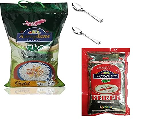 Aeroplane Rakhi Special Offer Gold Basmati Rice with Free Kheer Rice 200gm & 2 Spoon Stainless Steel - 5kg