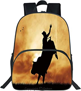 Oobon Kids Toddler School Waterproof 3D Cartoon Backpack, Bull Rider Silhouette at Sunset Dramatic Sky Rural Countryside Landscape Rodeo Decorative, Fits 14 Inch Laptop