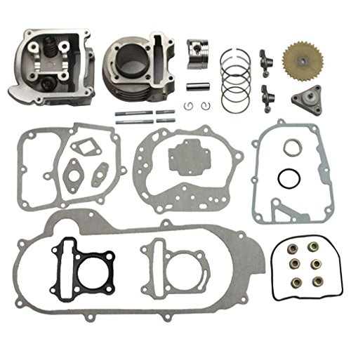GOOFIT Big Bore Cylinder Rebuild Kit for GY6 50cc 139QMB Racing Scooter Parts 64mm Valve