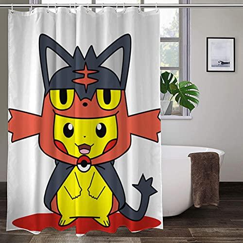 Pokémon Duschvorhang verschleißfest hochtemperaturwiderstandsfähig Der Badezimmer-Gardinen Mode Polyester Duschvorhang ungiftig kein Geruch Duschvorhang