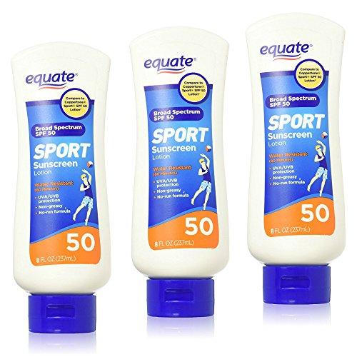 Equate Sport Lotion SPF 50, 8 fl oz - 3 Pack