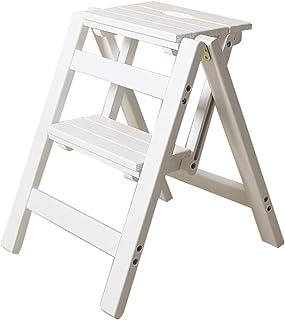 Escaleras Escalerillas Escalera Plegable de 2 Pasos de Madera Blanca Ligera y Plegable para niños Adultos para la Cocina de Loft de la Biblioteca decoración del hogar - Capacidad de 150 kg