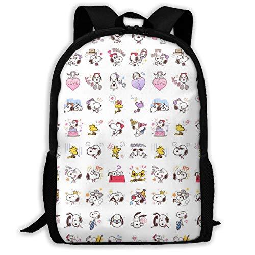 Mei-shop Casual Backpack Love Sn-oopy Print Zipper School Bag Travel Daypack Backpack-103