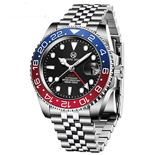 PAGRNE DESIGN Waterproof Mechanical Automatic Watch, Stylish Bezel, Stainless Steel Bracelet, Men's 40MM Watches (Red Blue)