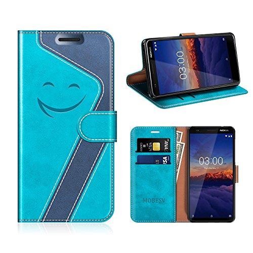 MOBESV Smiley Nokia 3.1 Hülle Leder, Nokia 3.1 Tasche Lederhülle/Wallet Hülle/Ledertasche Handyhülle/Schutzhülle für Nokia 3.1, Aqua/Dunkel Blau