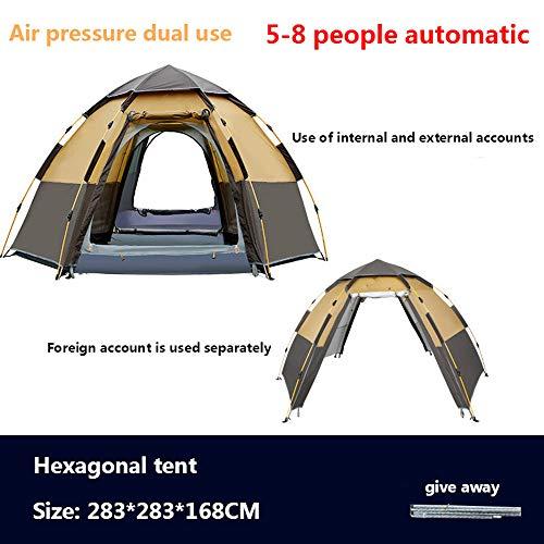 HUATXING Schnelles automatisches Öffnen Zelt 3-8 Person Double Layer Große Camping Familie Erholung in der Natur Partyzelte Markise Strand-Zelt,Braun