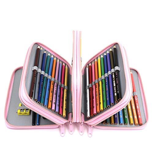 YOUSHARES 72 Slots Pencil Case - Handy Large Capacity Oxford Multi-Layer Zipper Pencil Bag for Color Pen, Colored Pencils, Watercolor Pens, Makeup Brush, Cosmetic Brushes, Gel Pen, etc (Light Pink)