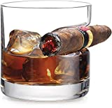 Godinger Cigar Whiskey Glass - Old Fashioned Whiskey Glass With Indented Cigar Rest