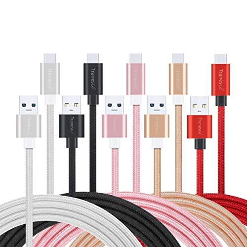 Cable USB Tipo C, 5 Unidades de 6 pies Tranesca rápido USB Tipo C Cargador de teléfono para Samsung Galaxy S10 S10+ S9 S8 Plus Note 9 8, LG V20 G5 G6 V30, HTC, Google Pixel 3a XL, Moto X4/Z2, y más