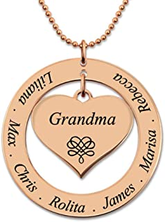 Women Custom Family Names Necklace Custom Letter Circle Heart Suspension Necklaces Silver 925 Chains Jewelry for Grandma Mom