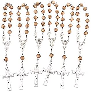 Simplewoo Mini Rosaries Bracelets Baptism Rosary Party Favors First Communion Gifts Christening Wedding Favors Pack of 12pcs