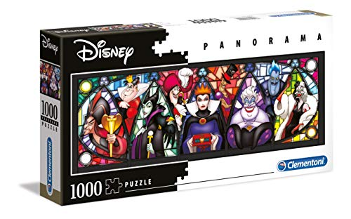 Clementoni - 39516 - Disney Panorama Collection - Villains - 1000 Pezzi - Made In Italy - Puzzle Adulto