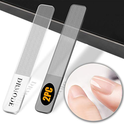 Glass Nail Shiner - 2PC Upgrade Nano Nail Buffers Glass Nail File Crystal Shine Polisher for Natural Nails, DR. MODE Professional Manicure Tools Kit for Acrylic Nail Care