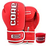Core Boxing Gloves with Free Hand wrap Adult Sparring Training Boxing Gloves Pro Punching Heavy Bags mitt UFC MMA Muay Thai for Men & Women Fight Boxing Gloves and Kickboxing (Red, 8)