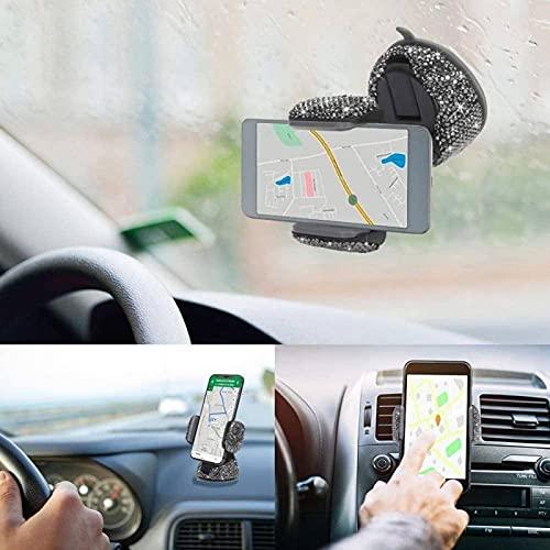 Soporte para teléfono de coche para parabrisas de coche, diseño de diamante, resistente y pegajoso, funcional, para soporte de teléfono (tamaño: 9,5 x 7,5 cm, color: gris oscuro)