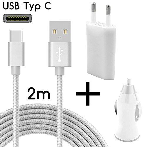 TheSmartGuard USB-C Ladegerät / 3in1 Ladeset/USB-Typ-C Ladekabel mit Netzteil und KFZ-Stecker kompatibel mit Samsung, Sony, HTC, Huawei Mate 20/Pro usw | Nylon | Silber | 2 Meter / 2m