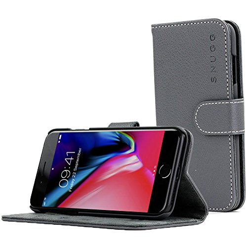 Snugg iPhone 8 Plus / 7 Plus Wallet Case – Leather Card Case Wallet with Handy Stand Feature – Legacy Series Flip Phone Case Cover in Grey