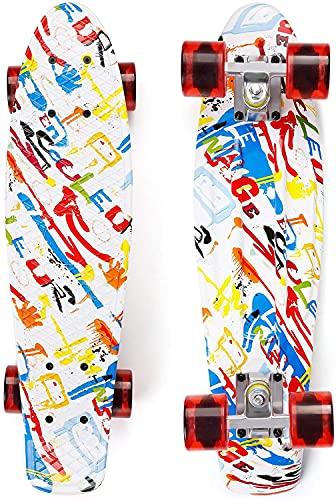 Skateboard Kinder 55 cm Penny Board Mini-Cruiser Retro-Skateboard für Kinder Jungen Mädchen Jugendliche Erwachsene Anfänger, 55 x 15 cm Komplettboard mit ABEC-7 Kugellager, Bis 100 kg Belastbar