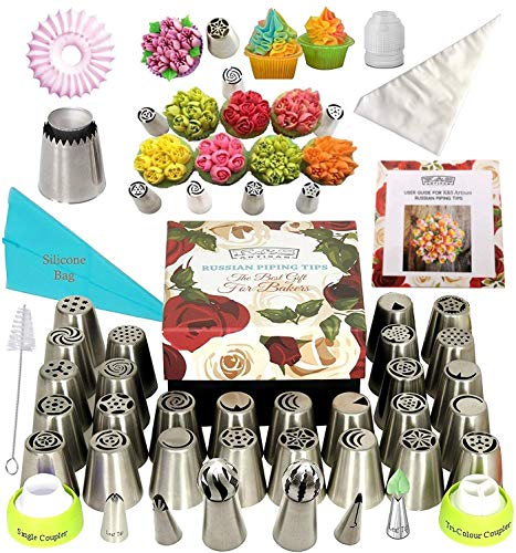 K&S Artisan Russian Piping Tips Deluxe Cake Decorating Supplies 69 Genuine Baking Supplies Set- 34 Icing Piping Tips 2 Ball Tips 2 Leaf Tips 30 Frosting Bag 3 Couplers Large Cupcake Decorating Kit