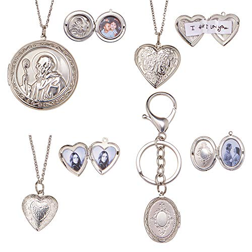 """SUNNYCLUE DIY 18"""" 30"""" Round Oval Heart Photo Charm Pendant Picture Engraved Locket Necklace Keychain Keyring Jewelry Making Arts Crafts Kit for Women Girls,Platinum"""