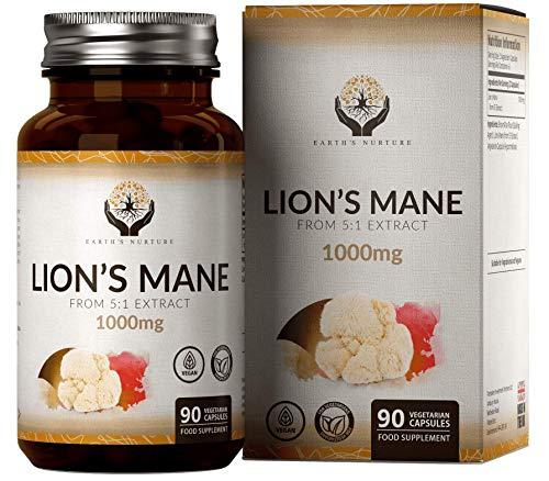 EN Lions Mane 1000mg par Portion 90 Gelules | Criniere de Lion Supplément | Complement Alimentaire | Lion's Mane pour Concentration Memoire Comprimés | Sans OGM