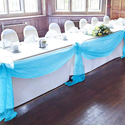 BIT.FLY 394 x 53 inch Sheer Scarf Organza Table Runner for Wedding Swags Valance Reception Backdrop Curtain Baby Shower Tulle Rolls Party Table Decoration (Turquoise, 1 Pack)