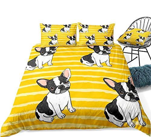 zpangg Ropa de Cama de Rayas Amarillas Juego de Funda nórdica Bulldog Colcha de Perro de Dibujos Animados Funda de edredón Amarilla Funda de edredón para niños y niñas Single