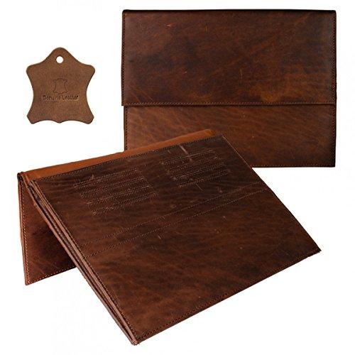 eFabrik Hülle für Sony Xperia Z4 Tablet Tasche (10,1 Zoll) Schutztasche Cover Sleeve Büffel Echt Leder Cognac Braun