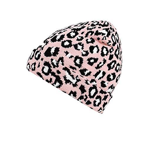 Sombrero De Moda Moda Adulto Mujeres Hombres Invierno Leopardo Sombrero De Ganchillo Sombrero De Punto Gorro Cálido Gorro Hairball Gorro Cálido
