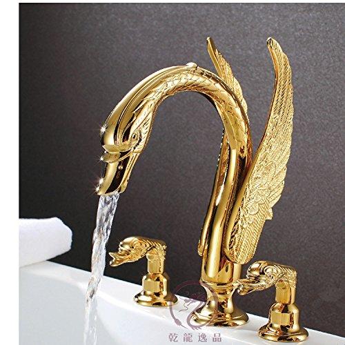 BXM*faucet WYMBS Accessori per mobili Creativo Decorazione Bagno Animali di Miscelatore lavabo di Arte Europea Classica Oro Ottone Tre Pezzi Swan