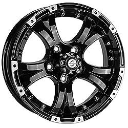 "cheap Viking Series Black Aluminum Lip Gloss Trailer Wheel with Chrome Cap – 15 x 5"" 5 on…"