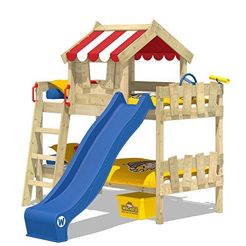 WICKEY Etagenbett CrAzY Circus Kinderbett Hochbett mit Rutsche, Dach und Lattenboden, rote Plane + blaue Rutsche, 90x200 cm
