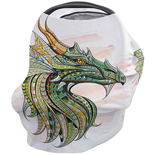 Buy Nursing Breastfeeding Cover Car Seat Canopy for Baby Dragon Green Ethnic Pattern Illustration Wa...